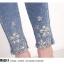 JH6101003 กางเกงยีนส์ สไตร์สาวเกาหลี ขา 9 ส่วน แต่งลูกปัด (พรีออเดอร์) thumbnail 5