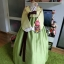 """Hanbok ผ้าไหมพรีเมี่ยม สีเหลืองตัดเขียวใบไม้ อก 34"""" สูง 160 thumbnail 1"""