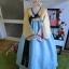 """Hanbok สีส้มตัดฟ้าปักมือดิ้นทอง อก 38"""" สูง 155 thumbnail 1"""