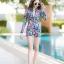 [Size M, L, XL] ชุดว่ายน้ำวันพีชขาสั้นซิปหน้า ลาย Tropical สีกรม thumbnail 5