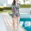 [Size M, L, XL] ชุดว่ายน้ำวันพีชขาสั้นซิปหน้า ลาย Tropical สีดำ thumbnail 4