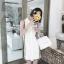 DW6105001 เดรสสีขาวปกเชิ้ตเกาหลีสไตร์ลำลองสบายๆทรงหลวม thumbnail 4