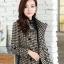 CW6010008 เสื้อโค้ทเสื้อคลุมกันหนาวเกาหลีผ้าผสมขนสัตว์สีดำและขาว(พรีออเดอร์) thumbnail 3