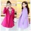 CW6011010 เสื้อโค้ทเกาหลีตัวยาวผ้าผสมขนสัตว์ฤดูใบไม้ร่วงและฤดูหนาว thumbnail 2