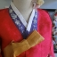 "Hanbok สีแดงปักมือดิ้นเงิน อก 40"" สูง 160 thumbnail 3"