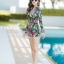 [Size M, L, XL] ชุดว่ายน้ำวันพีชขาสั้นซิปหน้า ลาย Tropical สีดำ thumbnail 5