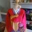 "Hanbok สีแดงปักมือดิ้นเงิน อก 40"" สูง 160 thumbnail 2"