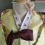 """Hanbok ผ้าไหมพรีเมี่ยม สีเหลืองตัดเขียวใบไม้ อก 34"""" สูง 160 thumbnail 3"""