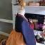 Hanbok สีกรมท่าตัดส้มปักมือดิ้นทอง เด็กโต สูง 150 thumbnail 4