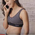Genie bra รุ่น Modern black bra ( Cross Stripes bra) Size 4L (3XL) (ของแท้ 100%)