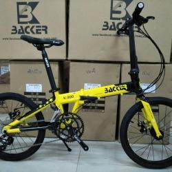 จักรยานพับ ล้อ 20 นิ้ว Twitter Backer รุ่น K200 เฟรมอลูสีเหลืองดำ เกียร์ Shimano Sora 18 Speed ดุมล้อแบริ่ง จุดพับ Auto