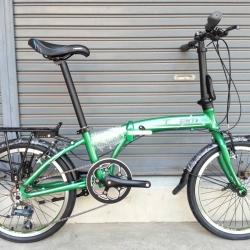 จักรยานพับเฟรมอลูมิเนียม สุดยอดด้วยดุม Novatec เกียร์ Claris 8 Speed ยี่ห้อ Team รุ่น F2095 สีเขียวปีกแมลงทับ ตะเกียบโครโมลี