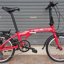 จักรยานพับเฟรมอลูมิเนียม สุดยอดด้วยดุม Novatec เกียร์ Claris 8 Speed ยี่ห้อ Team รุ่น F2095 สีแดงกุหลาบ ตะเกียบโครโมลี