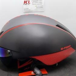 หมวกปั่นทรงแอโร่ S-Fight รุ่น GH06 สีดำแดง มีแว่นแม่เหล็ก สำหรับรอบศรีษะ 55-61 ซม.