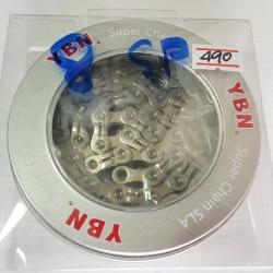 โซ่เงิน YBN 8 Speed รุ่น SLA H8 S2 เพลทเซาะร่อง ลดน้ำหนัก ไททาเนี่ยมโค้ท