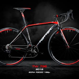 จักรยานเสือหมอบ Twitter TW736 ปี 2018 เฟรมอลู เกียร์ Shimano New Sora R3000 18 Speed ซ่อนสาย