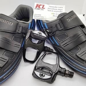 Combo Shimano Set รองเท้ารุ่น RP3 Black Blue รับทันที บันไดคลีตรุ่น R540 Light Action