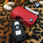 ซองหนัง ใส่กุญแจรีโมทรถยนต์ BMW รุ่นดันข้าง BMW Series3 (90) Series5 (E60) Series7 Z4 (E85) X1(E84) สีแดง