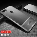 (พรีออเดอร์) เคส Huawei/Y7 Pro 2018-เคสนิ่มลายหนัง เรียบหรู สีเทา