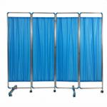 ฉากกั้นห้อง4ตอน ยาว200ซม. สีฟ้า ฉากกั้นห้องพยาบาล ฉากกั้นห้องสเตนเลส ม่านกั้นห้องสเตนเลส Blue 4-faced Exam Room Privacy Screen (200CM)