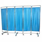 ฉากกั้นห้อง5ตอน ยาว250ซม. สีฟ้า ฉากกั้นห้องพยาบาล ฉากกั้นห้องสเตนเลส ม่านกั้นห้องสเตนเลส Blue 5-faced Exam Room Privacy Screen (250CM)