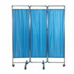ฉากกั้นห้อง3ตอน ยาว150ซม. สีฟ้า ฉากกั้นห้องพยาบาล ฉากกั้นห้องสเตนเลส ม่านกั้นห้องสเตนเลส Blue 3-faced Exam Room Privacy Screen (150CM)