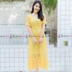 ชุดเดรสยาวลูกไม้สีเหลือง แนวเรียบๆ สวยหวาน น่ารัก สไตล์คุณหนู สำเนา