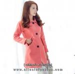 เสื้อโค้ทกันหนาวสีโอรส ทรงหลวม ผ้าเนื้อดี ลุคสวย ดูดี สไตล์เกาหลี