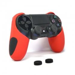 Thicker Half Skin Cover ซิลิโคนเคสแบบหนา สีแดง สำหรับจอย PS4 แถมฟรี ซิลิโคนครอบปุ่มอนาล็อก 2 ชิ้น