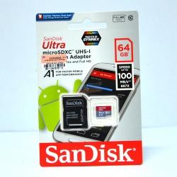 เมมโมรี่ไมโครเอสดีการ์ด ++ 64 GB Micro-SD Sandisk Ultra (Class10) ราคา 890.-