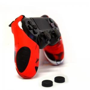 Thicker Half Skin Cover ซิลิโคนเคสแบบหนา ลายแดงดำขาว สำหรับจอย PS4 แถมฟรี ซิลิโคนครอบปุ่มอนาล็อก 2 ชิ้น