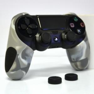 Thicker Half Skin Cover ซิลิโคนเคสแบบหนา สีเทาลายพราง สำหรับจอย PS4 แถมฟรี ซิลิโคนครอบปุ่มอนาล็อก 2 ชิ้น