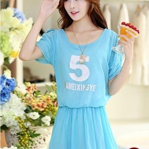 ชุดเดรสสั้นน่ารักๆ สีฟ้า ผ้าชีฟอง สกรีนตัวเลข คอกลม เอวยืด ซับใน ขนาดไซส์ XL