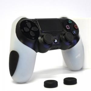 Thicker Half Skin ซิลิโคนเคสแบบหนา สีขาว สำหรับจอย PS4 แถมฟรี ซิลิโคนครอบปุ่มอนาล็อก 2 ชิ้น