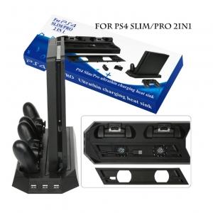 สแตนด์วางเครื่อง PS4 Pro, Slim PS4 2in1 Ultrathin Charging Heat Sink ราคา 490.-
