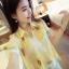 เสื้อทำงานแฟชั่นสไตล์เกาหลีสวยๆ เสื้อแขนสั่นสีเหลือง คอปก ผ้าชีฟองเนื้อผ้าบางเบาใส่สบาย กระดุมผ่าหน้า แถมฟรีเสื้อซับในสีขาว , thumbnail 1