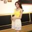 ชุดเดรสออกงานสวยๆแนวหวานสไตล์เกาหลี สีเหลือง คอกลมประดับคริสตัลสวยหรู แขนกุด เอวเข้ารูป กระโปรงผ้าลูกไม้สีขาว ซับในทั้งตัว ซิปหลัง ไซส์ M thumbnail 2