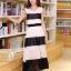 ชุดเดรสยาวแฟชั่นเกาหลี สีขาว-ดำ ผ้าชีฟอง คอกลม แขนกุด เอวยืด ซับใน ขนาดไซส์ L thumbnail 3