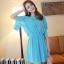 ชุดเดรสสั้นแฟชั่นเกาหลี สีฟ้า ผ้าชีฟอง คอกลม เอวยืด แขนสามส่วนเก๋ๆ เป็นชุดเดรสสวยหวาน น่ารัก ดูเรียบร้อย ,ชุดไปงานศพสวยๆ ( M L) thumbnail 4