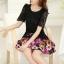 ชุดเดรสสั้นลายดอกไม้ เสื้อผ้าลูกไม้สีดำ เย็บต่อด้วยกระโปรงสั้นลายดอกไม้สีชมพู เป็นชุดเดรสแฟชั่นน่ารักๆ สไตล์เกาหลี ( S,M,L,XL,) thumbnail 3