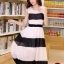 ชุดเดรสยาวแฟชั่นเกาหลี สีขาว-ดำ ผ้าชีฟอง คอกลม แขนกุด เอวยืด ซับใน ขนาดไซส์ L thumbnail 1