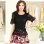 ชุดเดรสสั้นลายดอกไม้ เสื้อผ้าลูกไม้สีดำ เย็บต่อด้วยกระโปรงสั้นลายดอกไม้สีชมพู เป็นชุดเดรสแฟชั่นน่ารักๆ สไตล์เกาหลี ( S,M,L,XL,) thumbnail 1