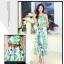 ชุดเดรสยาวสีเขียว พิมพ์ลายดอกไม้ แขนกุด เอวยืด สวยเก๋ thumbnail 2