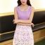 ชุดเดรสออกงานสวยๆแนวหวานสไตล์เกาหลี สีม่วง คอกลมประดับคริสตัลสวยหรู แขนกุด เอวเข้ารูป กระโปรงผ้าลูกไม้สีขาว ซับในทั้งตัว ซิปหลัง ไซส์ M thumbnail 5