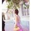 ชุดเดรสออกงานสีม่วง ด้านหน้าแต่งเป็นระบายซ้อนกัน แขนกุด กระโปรงปักลายดอกไม้นูน thumbnail 6