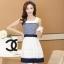 ชุดทำงานแฟชั่นเกาหลี มินิเดรสสวยๆ เดรสสั้นแขนกุด กระโปรงผ้าแก้ว สีกรมท่า ( S M L XL ) thumbnail 1