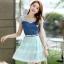 ชุดเดรสสั้นแฟชั่นเกาหลี สีฟ้า เสื้อแต่งเป็นผ้ายีนส์เย็บต่อด้วยกระโปรงผ้าแก้ว เป็นชุดเดรสแนวหวานน่ารัก สวย เรียบร้อย ดูดี ( S M L XL ) thumbnail 1