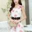 ชุดเดรสออกงาน มินิเดรสกระโปรงสั้น สีขาวพิมพ์ลายดอกไม้ สามารถใส่ไปงานแต่งงาน งานเลี้ยงโอกาสต่างๆ ให้ลุคสวย หวาน น่ารักสไตล์เกาหลี thumbnail 5