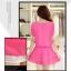 ชุดเดรสสั้นน่ารักๆ สีชมพู ผ้าชีฟอง สกรีนตัวเลข คอกลม เอวยืด ซับใน ขนาดไซส์ XL thumbnail 3