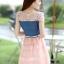 ชุดเดรสสั้นแฟชั่นเกาหลี สีชมพู เสื้อแต่งเป็นผ้ายีนส์เย็บต่อด้วยกระโปรงผ้าแก้ว เป็นชุดเดรสแนวหวานน่ารัก สวย เรียบร้อย ดูดี ( S M L XL ) thumbnail 6